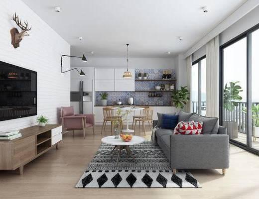 沙发组合, 茶几, 电视柜, 地毯, 摆件