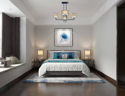 卧室, 床头柜, 台灯, 装饰画, 榻榻米, 挂画, 吊灯, 新中式