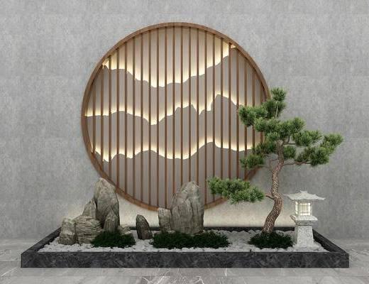 园艺小品, 假山松树, 树木, 石头, 新中式
