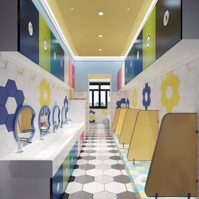 卫生间, 洗手台, 便池, 装饰镜, 现代