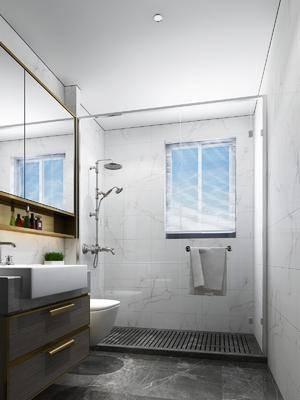 现代简约卫生间, 卫生间, 洗手台, 绿植, 现代