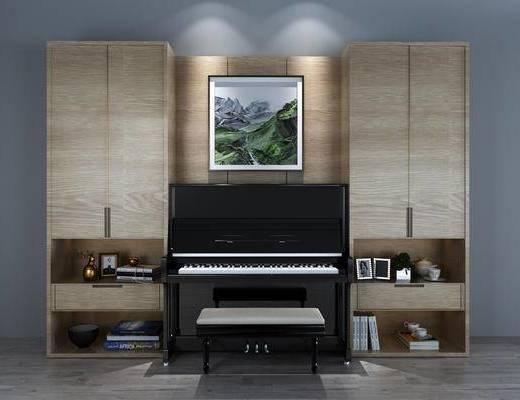 书柜, 钢琴, 挂画, 置物柜, 陈设品, 摆件, 装饰柜, 现代
