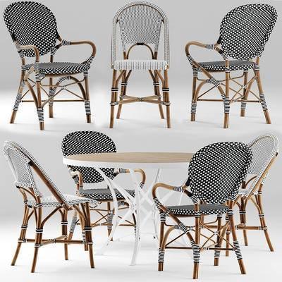 藤编, 餐桌椅, 餐桌, 餐椅, 现代, 藤椅, 休闲椅, 单椅, 田园