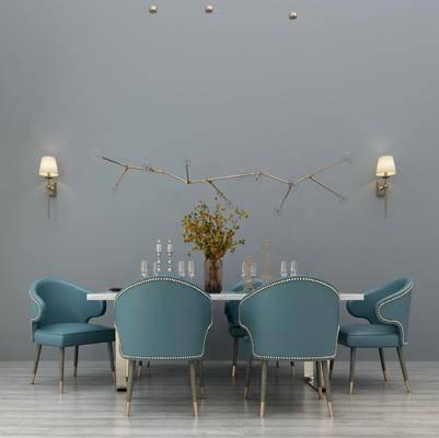 桌椅组合, 餐桌, 餐椅, 单人椅, 餐具, 壁灯, 墙饰, 现代