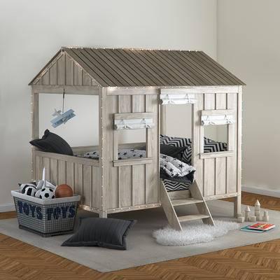 北欧, 儿童床, 地毯, 玩具, 现代北欧儿童双人床木屋床地毯玩具组合