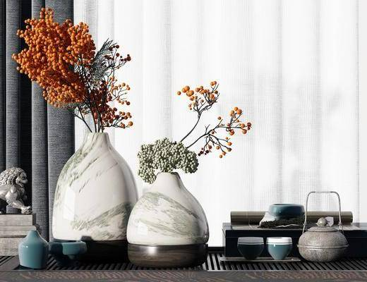 花瓶, 茶具组合, 盆栽植物