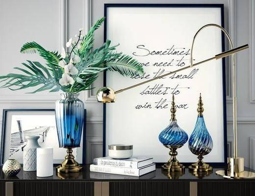 盆栽植物, 摆件组合, 装饰画