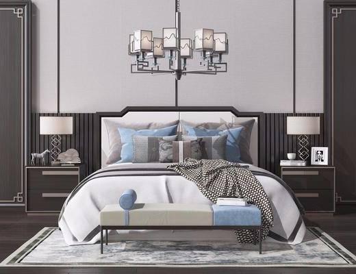 床头柜, 台灯, 床榻, 吊灯, 床具组合