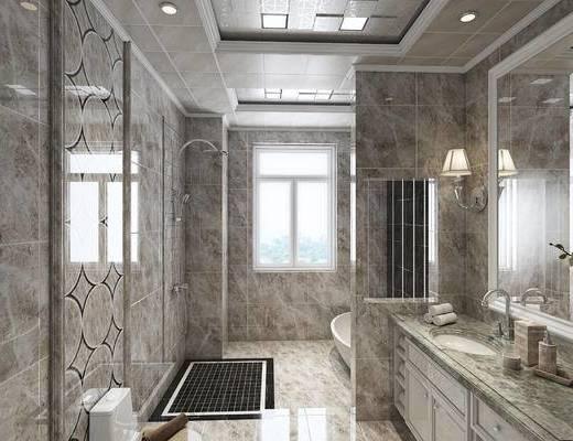 现代, 简欧, 卫浴, 浴缸, 花洒, 壁灯, 洗手台, 坐厕, 镜