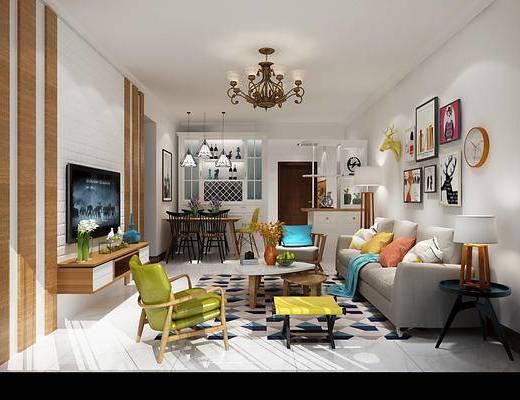 北欧客厅, 客厅, 沙发组合, 餐厅, 餐桌椅, 卧室, 双人床