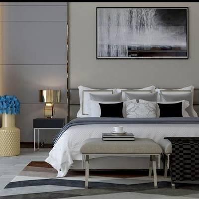 现代, 双人床, 床具, 瓷器, 摆件, 装饰品, 陈设品, 床头柜, 台灯, 尾榻, 挂画, 装饰画