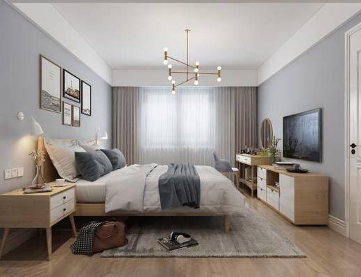 卧室, 床具组合, 桌椅组合, 边柜组合, 组合画, 北欧