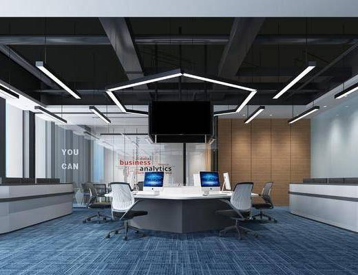 工业办公室, 办工桌, 单椅, 吊灯, 工业风