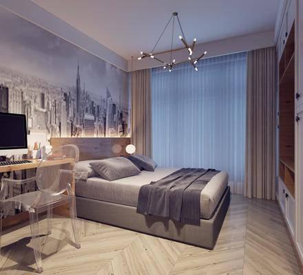 卧室, 现代卧室, 简约, 床具, 双人床, 书桌, 单椅, 椅子, 吊灯, 衣柜, 置物柜, 书籍, 摆件, 装饰品, 现代