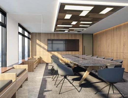 会议室, 会议桌, 桌椅组合, 吸顶灯