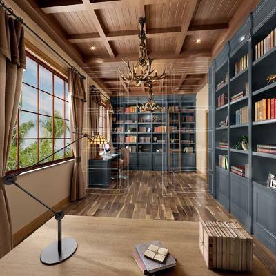 书房, 装饰柜, 书籍, 吊灯, 书桌, 单人椅, 台灯, 新古典