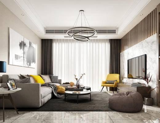 现代, 客厅, 餐厅, 茶几, 灯具, 装饰画