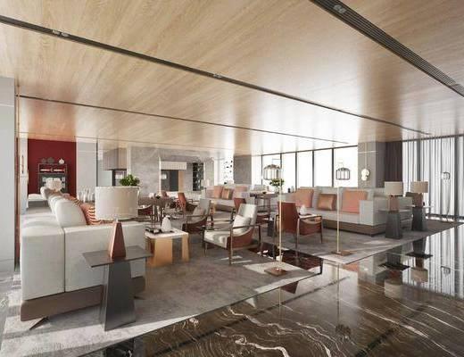 售楼处, 桌椅组合, 沙发组合, 落地灯, 茶几
