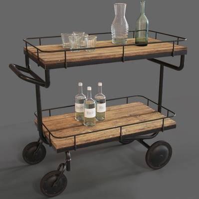 餐车, 杯子, 酒瓶, 现代