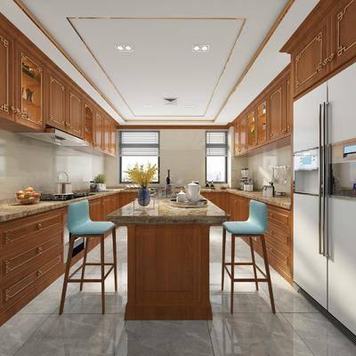 厨房, 橱柜, 吧台, 吧椅, 单人椅, 冰箱, 摆件, 装饰品, 陈设品, 中式