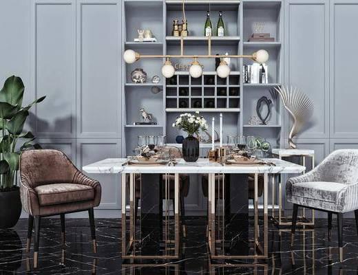 餐椅, 桌花, 酒柜, 吊灯, 摆件, 装饰品