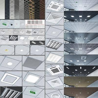 现代, 铝扣板, 天花板, 天花吊顶, 空调出风口, 顶灯, 标注, 消防