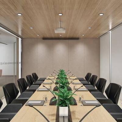 会议室, 会议桌, 桌子, 单人椅, 摆件, 投影仪, 现代简约