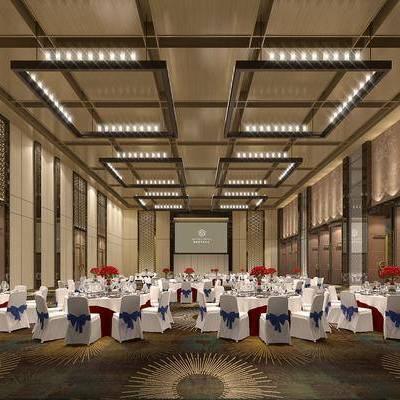 餐桌, 餐椅, 宴会厅, 摆件, 现代