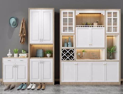 鞋柜, 现代鞋柜, 摆件, 现代