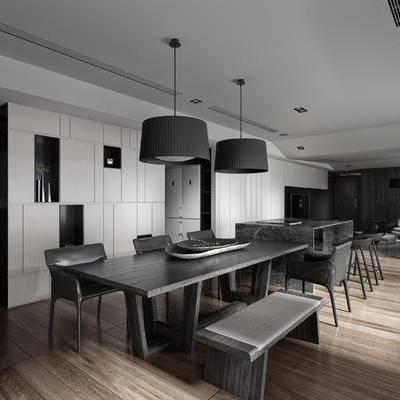 餐厅, 餐桌椅, 吊灯, 桌椅组合, 现代餐厅, 现代