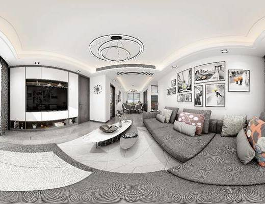 客廳, 餐廳, 家裝全景, 沙發組合, 沙發茶幾組合, 掛畫組合, 餐桌椅組合, 擺件組合, 現代