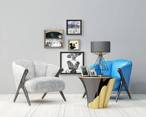 单人沙发, 茶几, 台灯, 挂画