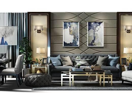 沙发背景墙, 背景墙, 壁灯, 沙发茶几组合, 沙发凳, 沙发椅, 餐桌椅组合, 餐桌, 组合桌椅, 现代, 沙发组合
