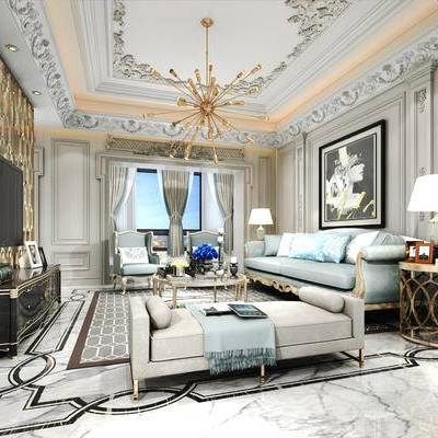 欧式, 简欧, 客厅, 欧式客厅, 欧式沙发, 电视柜, 吊灯