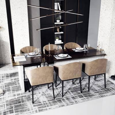 餐桌, 桌椅组合, 吊灯, 餐具组合, 置物柜, 书籍, 盆栽植物