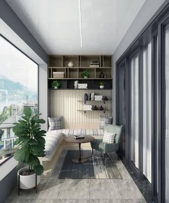休闲阳台, 阳台露台, 装饰柜, 摆件组合, 卡座组合, 现代