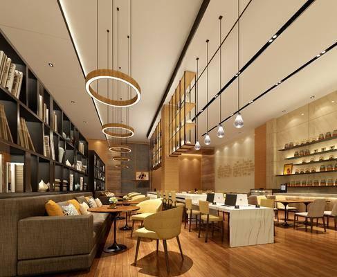 现代办公区, 多人沙发, 单椅, 书架, 办工台, 吊灯, 现代
