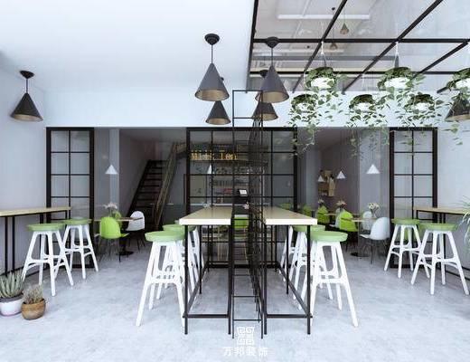 奶茶店, 餐厅, 餐桌椅, 吧椅, 吊灯