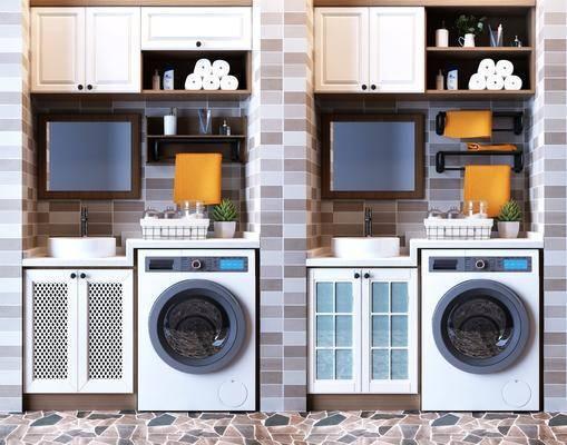 洗衣机, 装饰柜, 洗手台, 储物橱柜, 壁柜吊柜, 洗漱用品, 现代