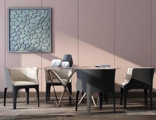 北欧, 简约, 餐桌, 椅子, 摆件, 装饰品, 墙饰
