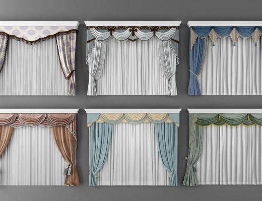 欧式, 窗帘, 组合