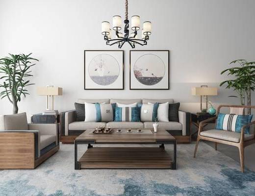 新中式沙发茶几装饰画吊灯地毯组合, 新中式, 沙发组合, 新中式沙发, 中式吊灯, 中式挂画, 植物, 茶具