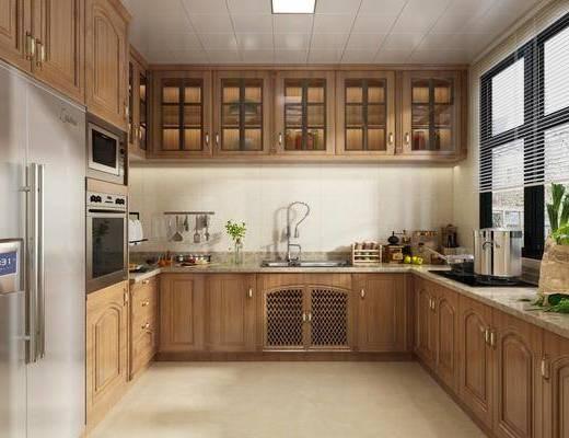 厨房, 厨具, 橱柜, 装饰品, 陈设品, 冰箱, 美式