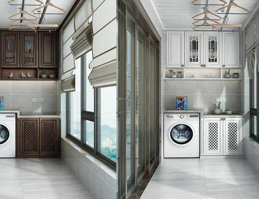 阳台露台, 洗衣机, 装饰柜, 橱柜, 盆栽, 装饰品, 陈设品, 现代