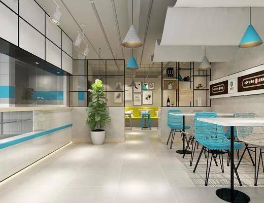 饮品店, 餐桌, 餐椅, 单人椅, 吊灯, 装饰柜, 盆栽, 装饰画, 挂画, 墙饰, 现代
