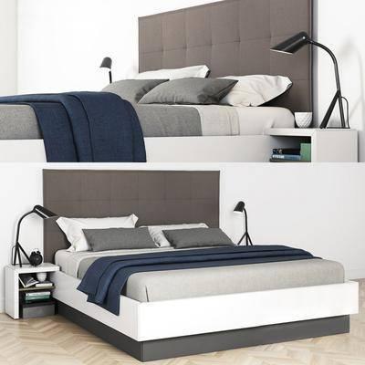 双人床, 床头柜, 床头灯, 现代