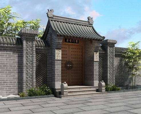 古建, 门面, 门头, 新中式古建, 新中式门头