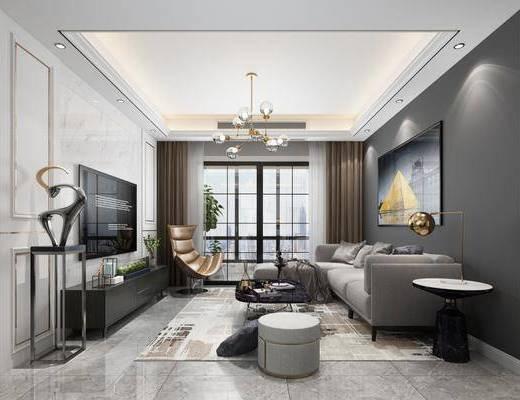 沙发组合, 装饰画, 吊灯, 电视柜, 餐桌, 桌椅组合, 墙饰