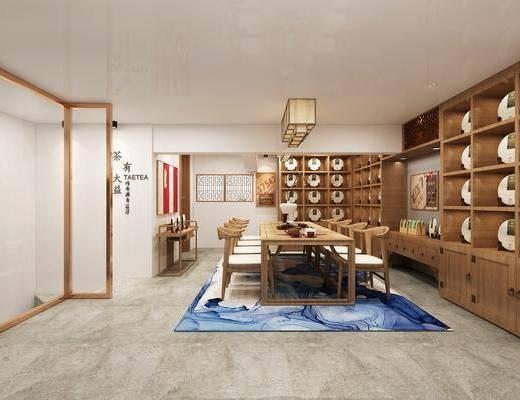 茶室, 桌椅组合, 置物架