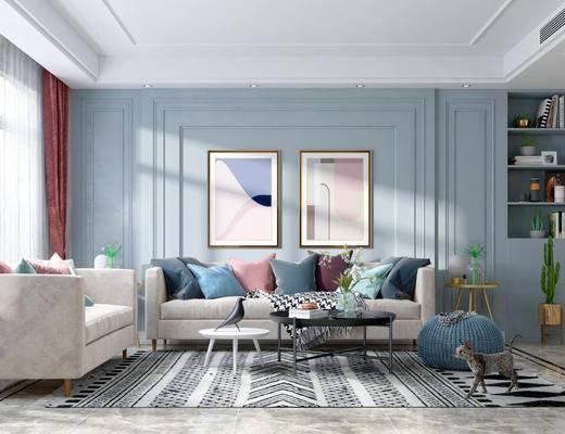 厨房, 沙发组合, 抱枕, 装饰画, 餐桌, 吊灯